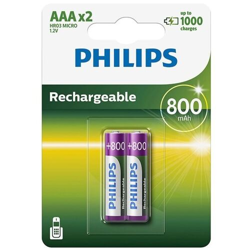 PHILIPS PILA RECARGABLE AAA HR03 800mAh BLISTER*2
